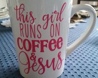 This Girl Runs on Coffee & Jesus Coffee Mug