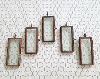Set of 5 (five) rectangle glass frame pendants shadowbox memory glass lockets