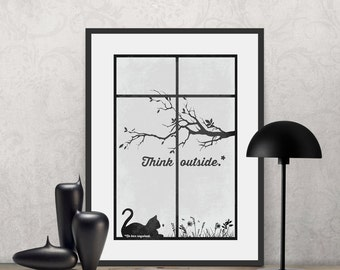 Think Outside* No box required. | Poster Quote, Poster Art, Printable Art, Minimalist Poster, Minimalist Art.