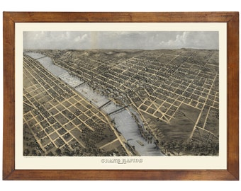 Grand Rapids, MI 1868 Bird's Eye View; 24x36 Print from a Vintage Lithograph