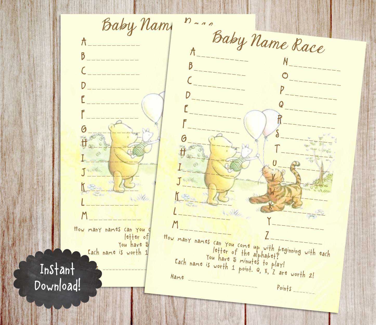 Baby Name Race Baby Shower Game Printable Winnie the Pooh