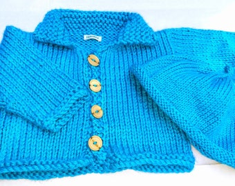 New Mom Gift, Turquoise Blue Baby Cardigan and Hat Set, Gift for Baby, FREE SHIPPING by hipknitta