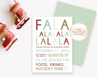 Christmas Party Invitation, Falala Invitation, Christmas Dinner Invitation, Christmas Cheer, Rustic Christmas Invitation, Printable [538]