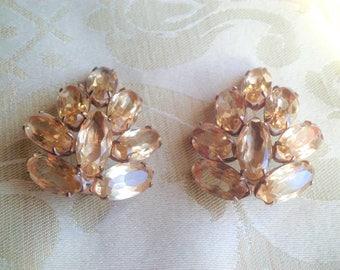 Vintage Sterling large Open Rhinestone Clip Earrings