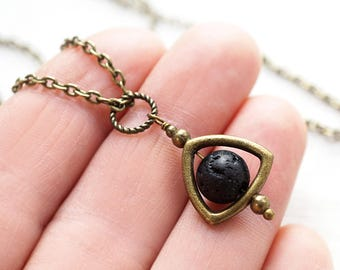 Jewelry Handmade Essential Oil Diffuser Necklace Steampunk Men Necklace Black Lava Stone Necklace Dark Moon Necklace Boho Stone Ball Custom