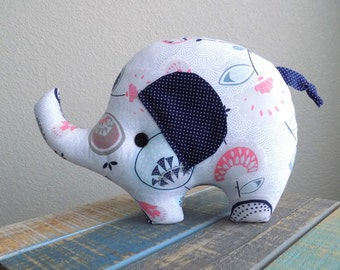 Elephant stuffed plush toy in floral and navy blue, elephant stuffed toy, elephant plushie , elephant room decor, elephant pillow