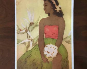 "Vintage John Melville Kelly Matson Lines Menu Cover - ""Hula Dancer Hawaii"" - Made in USA - 1940's"