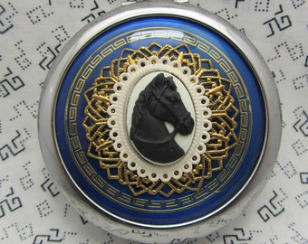 Compact Mirror Bridesmaid Gift Black Horse Comes With Protective Pouch