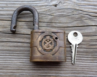 Antique Brass and Steel Yale & Towne US Ordnance Department Padlock and Key