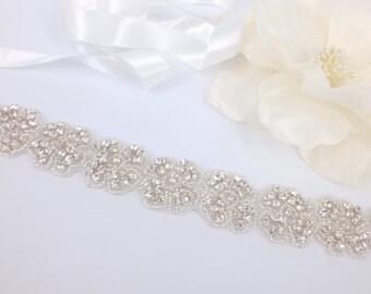 Veronica - Style Vintage strass cristal Bridal ceinture, ceinture
