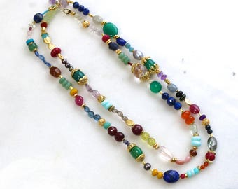 "LUXE Multi-Gemstone 42"" Layering Necklace in 22kg Vermeil.."