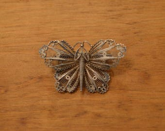 1930s Art Deco Butterfly Brooch with Silver Filigree and C Clasp
