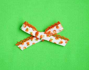 Hand Tied Crocheted Edge Oranges - Headband or Clip