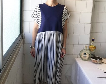 Vintage Nautical Dress, Blue and White Striped Sailor Dress, Midi, Knee Length, Minimalist Day at the Beach, Retro Hipster Dress, Size M