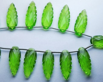 13 Bedas,8 Inch Strand,Matched Pairs,Peridot Green Quartz Carving Faceted Pear Shape Briolettes,20x8mm
