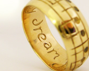 Gold Song Wedding Band - White Yellow or Rose Gold - Men's Music Wedding Band - Gold Ring - Geekery - Notes to Your Song - Rickson Jewellery