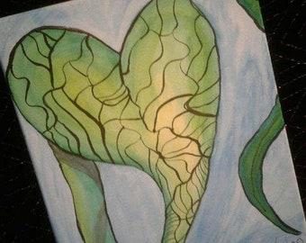 "Broken leaf. 11""W by 14""L painting."