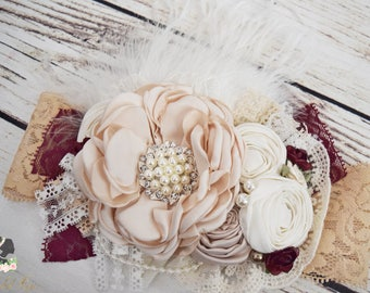 Handcrafted Ivory Champagne Wine Over the Top Couture Headband - Fancy Ostrich Feather Headpiece - Flower Girl Headband - Christmas Headband