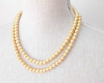 Two strand gold glass pearls, fashion jewelry, Bridal necklace, pearl jewelry, bridesmaid, present for mum, bead work, birthday gift,