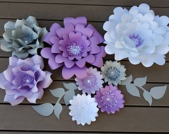 Purple, white and grey paper flower set