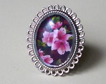 Handmade cherry plum and fuchsia 18x25mm glass cabochon ring