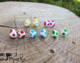 Multithread (fimo) geek mario yoshi eggs Stud studs earrings