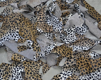 Leather Scrap hair on cowhide 1 pound cheetah print various sizes TA-12855