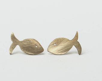 Minimal little fish earrings, Gold fish earrings, Animal earrings, Bronze earrings, Funny earrings. Small earrings, My Crazy Hands Lab.