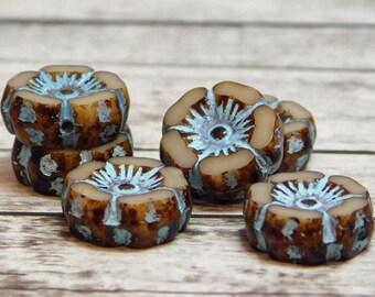 12mm - Hawaiian Flower Beads - Picasso Beads - Czech Glass Flower - Flower Beads - Czech Glass Beads - Table Cut Beads - 6pcs -(619)