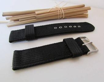 Wristwatch bracelet nylon black, supplied with 18mm, 20mm, 22mm, 24mm shank - 21.400