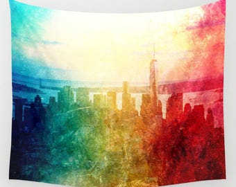 New York Tapestry, Manhattan Landscape, Wall Tapestry, Photography, urban, splash, wall art, modern, watercolor, dorm, colorful, trend, teen