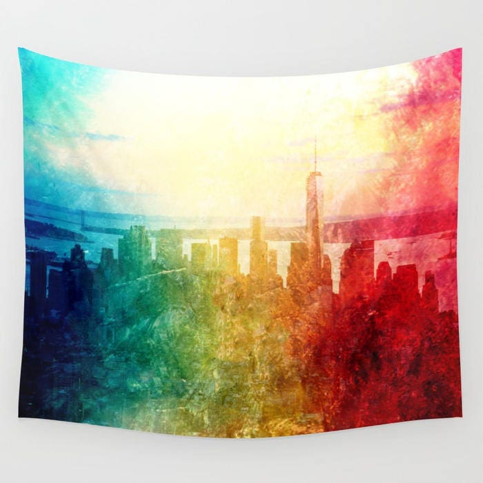 New York Tapestry, Manhattan Landscape, Wall Tapestry, Photography ...