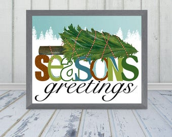 Seasons Greetings Christmas Print - Frame Not Included
