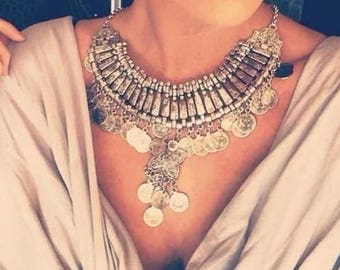 Boho Vintage Chunky Statement Necklace