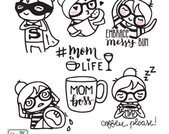 Planner Girl - Mom Life Stamp Clipart - Planner Stickers, scrapbook , card design, invitations, paper crafts, INSTANT DOWNLOAD
