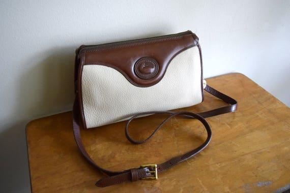 Vintage Dooney & Bourke Bone / Dark Brown Leather Crossbody Purse