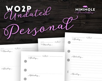 Weekly Planner WO2P Undated Planners Week on 2 Pages Week on Two Pages Personal Planner Inserts Filofax Personal Inserts Printable Planner
