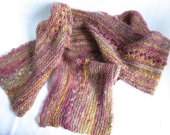 Onto Better Times - Handspun, handknit scarf - handdyed, open work, extra wide, lace, pink, yellow, sparkles, soft spring tones, lightweight