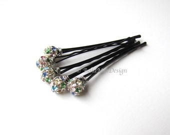 Crystal Rhinestone Hair Pins, Confetti Bobby Pins with Multi Color Pastels