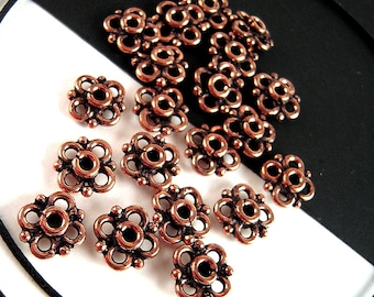 Bali Style Copper Spacer Beads - Lot of 20 - 10mm Antiqued Solid Copper Spacers Made in India - Floral Style Tribal Jewelry Findings - F072