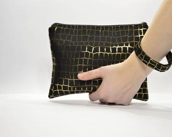 Black and gold clutch bag two sizes