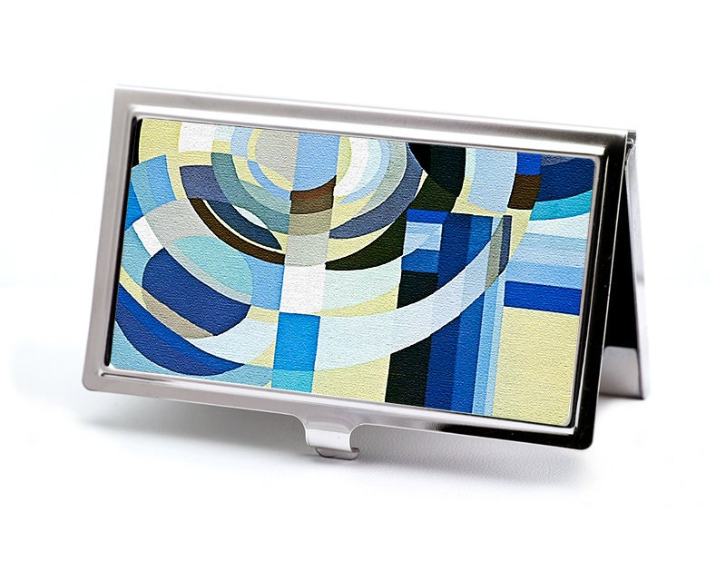 Deco Blues Business Card Holder Art Deco Design Credit Card