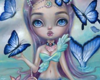 Forget Me Not, SIGNED print Simona Candini pop surrealism big eyes art mermaid fantasy narwhal kawaii