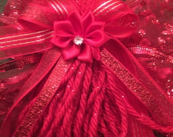 Red Angel Christmas Tree Ornament. Red Bow