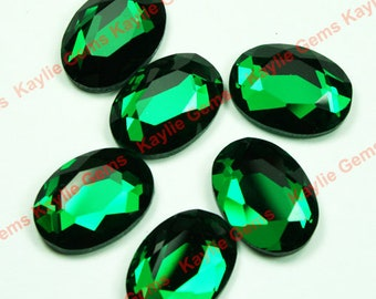 Mirror Glass Cabochon cab 18x13 Oval Faceted Table Cut-Emerald Green- 4pcs