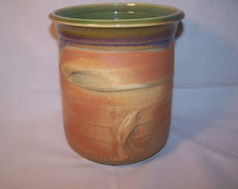 "Utensil Holder, Stoneware.Glaze ""Autumn""   Height 14 cm x 14cm"