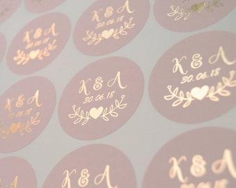 Foil Wedding Stickers, Blush Wedding Labels, Rose Gold Favour Stickers, Custom Wedding Stickers, Personalised Envelope Seals, D7