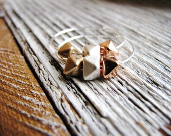 Metal Nugget Trio Earrings, Nugget Earrings, Minimalist Earrings, Silver Earrings