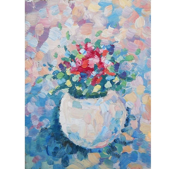 Flowers Bright Oil Painting Original Bedroom Wall Color