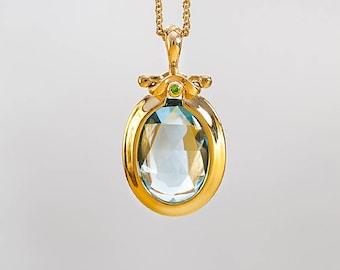 Faceted Blue Topaz Pendant Necklace, Blue Topaz Jewel, Blue Gemstone Pendant, 18k Gold Oval Necklace, Blue Topaz Gemstone